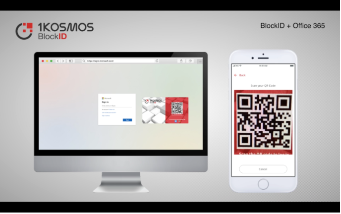 Screenshot of a phone with a Passwordless-QR-Code and a computer screen with a Google log-in screen